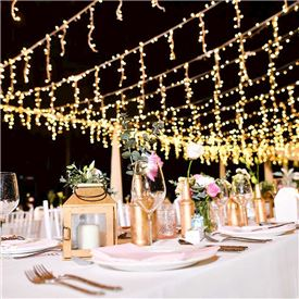 Outdoor Lights Table Setting Wedding